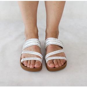 Style Shoes White Strap Diamante Detail Sandal