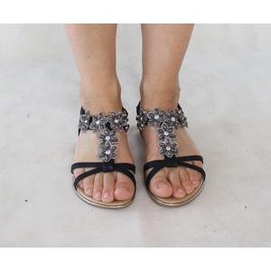 H2B Diffusion Black Floral Diamante Strap Sandal