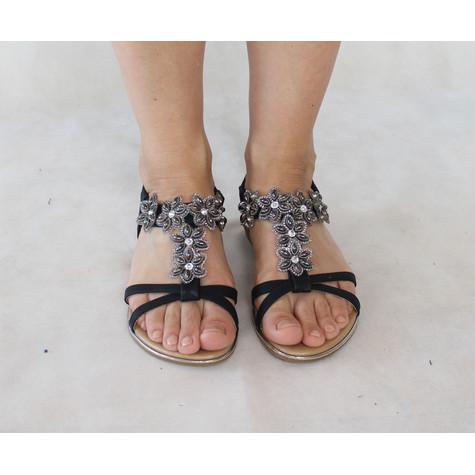Pamela Scott Black Floral Diamante Strap Sandal