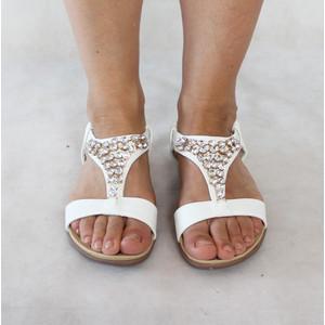 Libra Pop White Triangle Diamante Detail Sandals