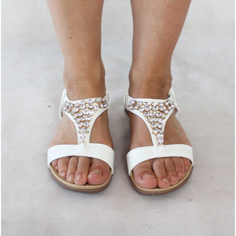 Libra Pop White Triangle Diamante Detail Sandals
