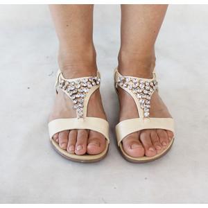 Libra Pop Beige Triangle Diamante Flat Sandal