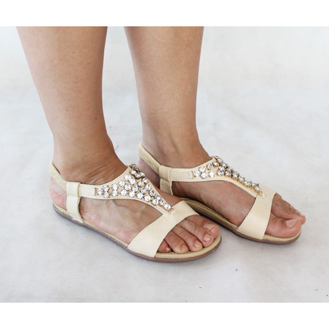 Libra Pop Beige Triangle Diamante Flat Sandal