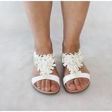 Libra Pop White Floral Detail Sandals