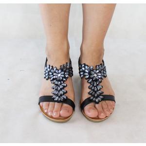 Poti Pati Black Floral Strap Wedge Sandal
