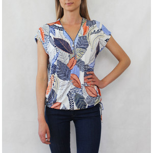 SophieB Orange & Cream Floral Zip Detail Top