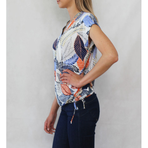SophieB Orange & Cream Floral Zip Detail Top