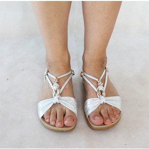Tony & Co. Silver Strap Gold Detail Sandal