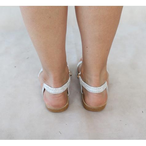 Tony & Co. Silver Strap Gold Detail Sandal