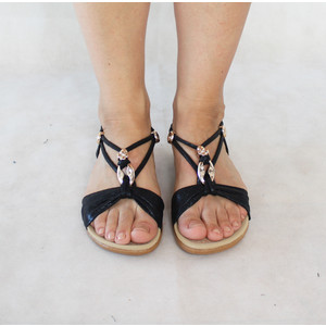 Exquily Black Strap Gold Detail Sandals