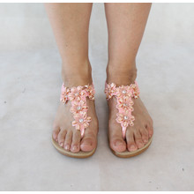 Exquily Pink Floral Strap Sandals