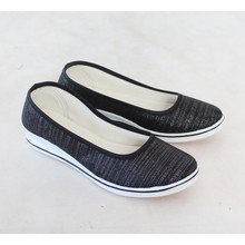 Exquily Black Shimmer Slip Shoes