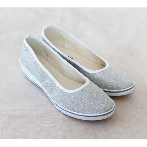 Exquily Silver Shimmer Slip On Shoe