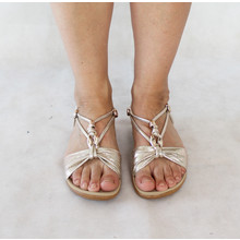 Exquily Gold Shimmer Strap Sandal