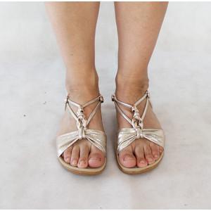Exquily Gold Shimmer Strap Sandal