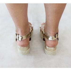 H2B Diffusion Gold Strap High Wedge Sandals