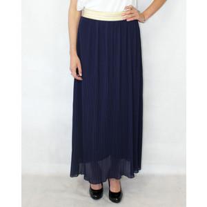 New Feeling Gold Band Navy Long Skirt
