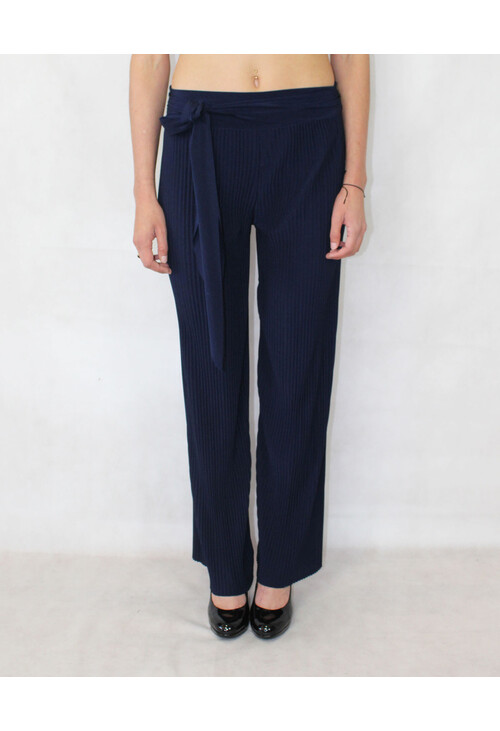 Pamela Scott Navy Pleated Loose Trousers