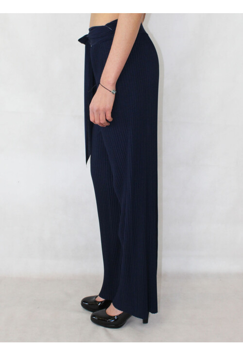 Pamela Scott Navy Pleated Loose Trousers