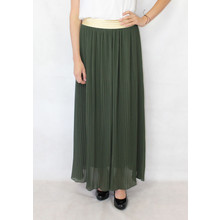 New Feeling Gold Band Green Long Pleated Skirt