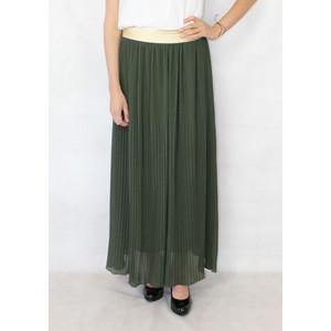 New Feeling Gold Band Green Long Pleated Skirt