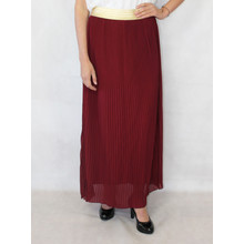 New Feeling Gold Band Wine Long Pleated Skirt