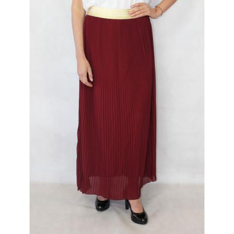 af2f535bb New Feeling Gold Band Wine Long Pleated Skirt | Pamela Scott
