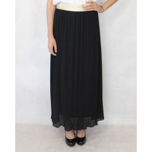 New Feeling Gold Band Black Long Pleated Skirt