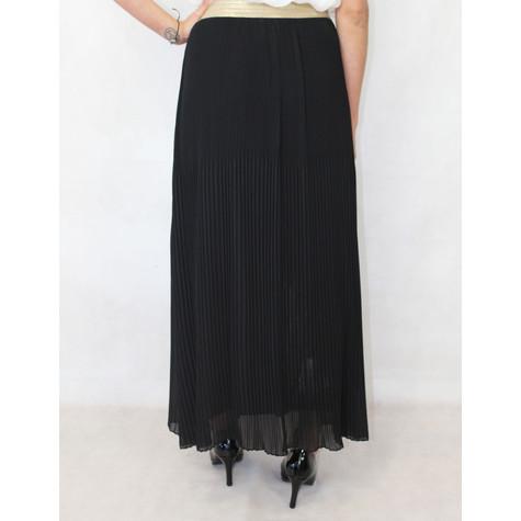 New Feeling Gold Band Black Long Pleated Skirt