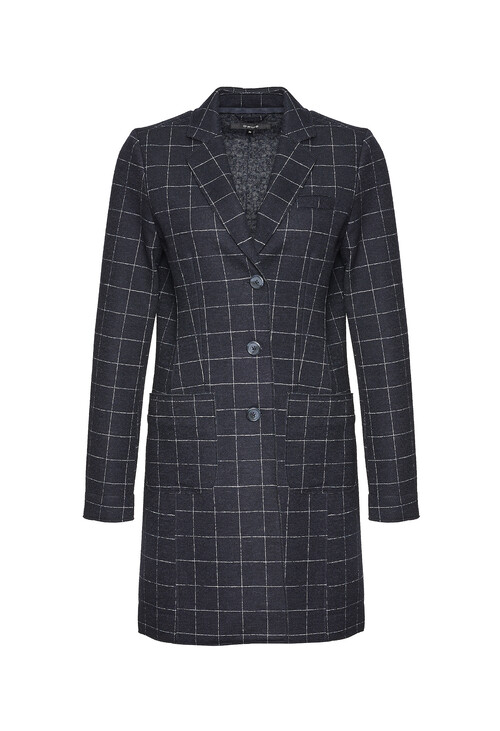 Opus Simple Blue Frock Coat Haley Window Check