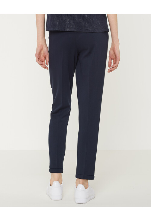 Opus Simple Blue Trousers Madeni Side Stripe
