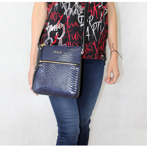 Gionni Navy Reptile Effect Zip Detail Bag