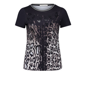 Betty Barclay Black & Beige Printed Round Neck Top