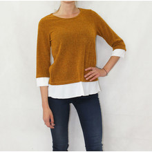 SophieB Mustard White Trim Knit