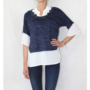 SophieB Navy Neck Lace Accessory Knit