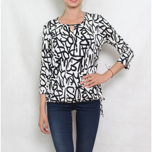 Zapara White & Black Graffiti Print Top