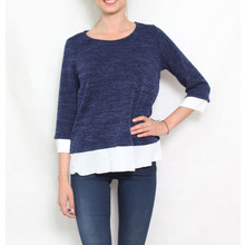 SophieB Navy White Trim Knit