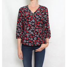 SophieB Black & Red Floral Zip Detail Top