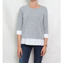 SophieB Grey White Trim Knit