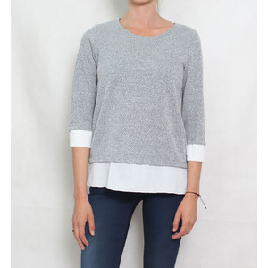 SophieB Grey White Trim Knit