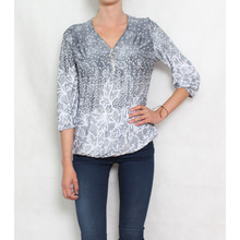 SophieB Grey Floral Print Zip Detail Top
