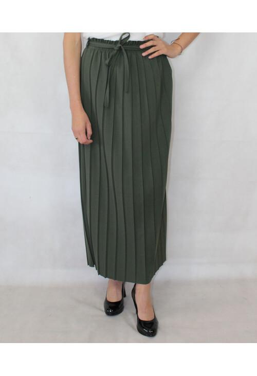 Pamela Scott Green Long Pleat Skirt