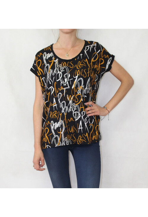 Sophie B Mustard & Red Letter Print Top
