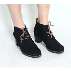 Marco Tozzi Black Lace Up Heel Boots