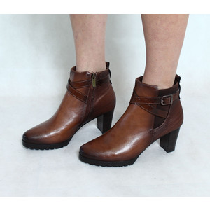 Marco Tozzi Tan Buckle Ankle Heel Boot