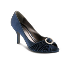 Lunar Ruffle Navy Open Toe Shoe