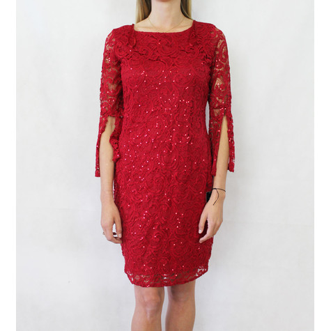 Tiana B Dark Red Sequence Lace 3/4 Sleeve Dress