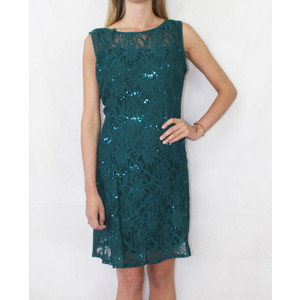 Ronni Nicole Sleeveless Green Sequence Lace 3/4 Sleeve Dress