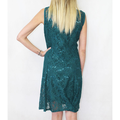 Ronni Nicole Sleeveless Green Sequence Lace 3/4 Sleeve Dress