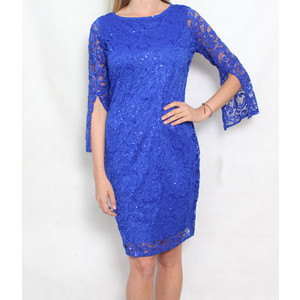Tiana B Royal Blue Lace 3/4 Sleeveless Dress